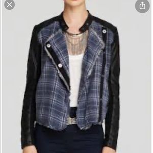 Free people plaid vegan leather jacket